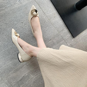 Woman's Pointed Low Heeled Chunky Pumps Shoes