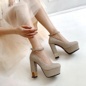 Ankle Straps Glitter High Heeled Platform Pumps Bride Shoes