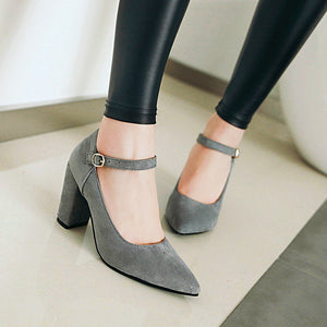 Ankle Strap Pointed Toe Women Pumps High Heeled Buckle Bride Shoe