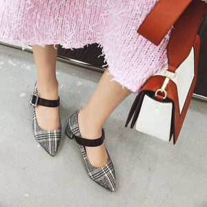 Pointed Toe Women Pumps Buckle Chunky Heeled Shoes