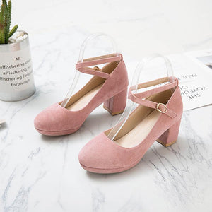 Ankle Strap High-heeled Shallow-mouth Women Pumps