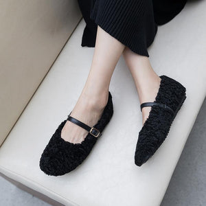 Girls Wool Shallow Mouth Buckle Flat Shoes