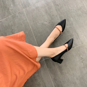 Lady Pointed Toe Medium-heeled Shallow-mouthed Women Hunky Pumps