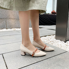 Load image into Gallery viewer, Lady Pointed Toe Medium-heeled Shallow-mouthed Women Hunky Pumps