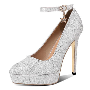 Sexy Glitter Super High-heeled Shallow-mouth Women Platform Pumps Bride Wedding Shoes