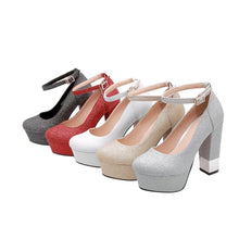 Load image into Gallery viewer, Ankle Straps Glitter High Heeled Platform Pumps Bride Shoes