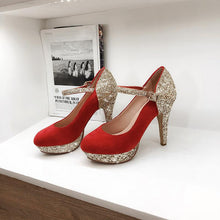 Load image into Gallery viewer, Women's Chunkey Heel Pumps Super High Heel Sequins Wedding Shoes Shoes