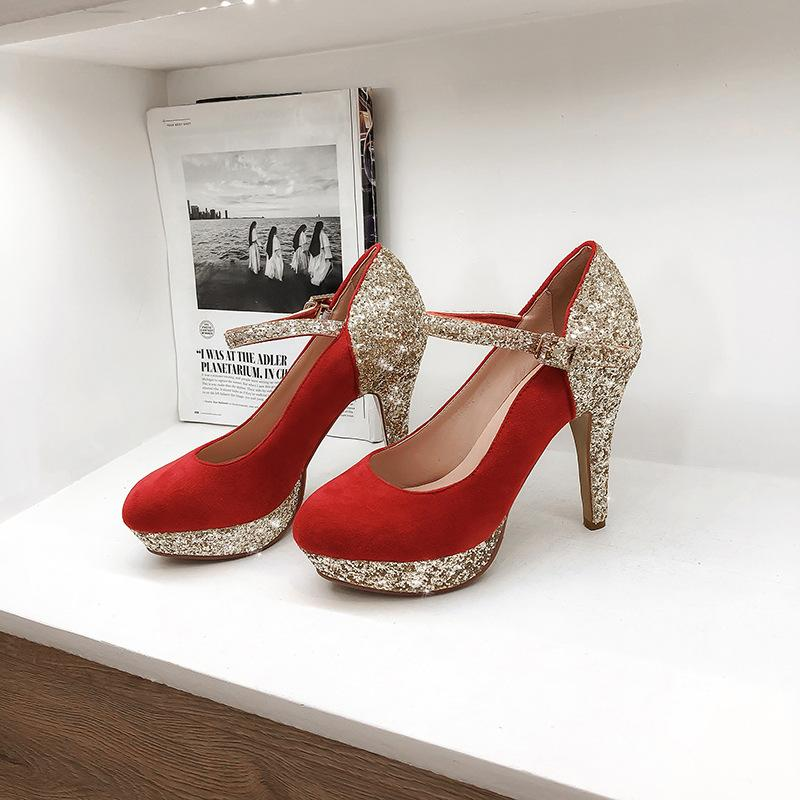 Women's Chunkey Heel Pumps Super High Heel Sequins Wedding Shoes Shoes