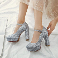 Load image into Gallery viewer, Sequined Bridal Shoes Platform Pumps Super High Heeled