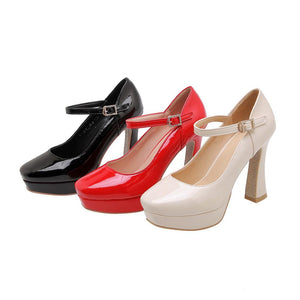 Women's Chunkey Heel Pumps  Ultra-high Heel Buckle Belt Shoes