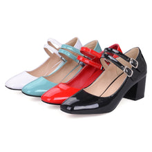 Load image into Gallery viewer, Square Head High Heeled Shallow Mouth Women Pumps