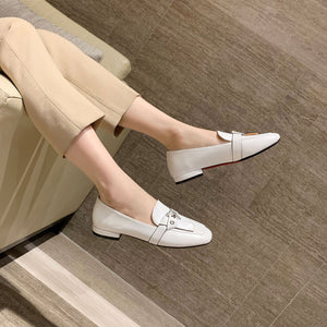 Woman's Square Head Shallow Mouth Low Heeled Chunky Pumps Shoes
