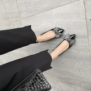 Lady Pointed Toe Shallow Mouth Butterfly Knot Women Shoes Chunkey Pumps
