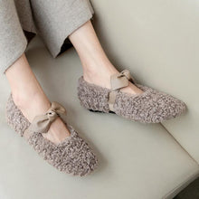 Load image into Gallery viewer, Girls Wool Bow Flat Shoes