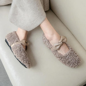 Girls Wool Bow Flat Shoes