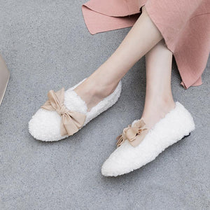 Girls Wool Shallow Mouth Sweet Bow Flat Shoes