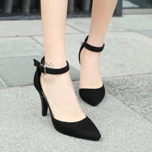 Pointed Toe Buckle with Hollow Women's Sandals High Heels