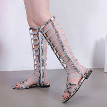 Load image into Gallery viewer, Summer Hollow Rivets Flat Open Toe Roman Gladiator Sandals