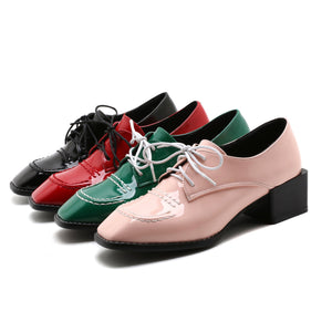 Woman's British Wind Square Toe Lace Up Oxford Shoes