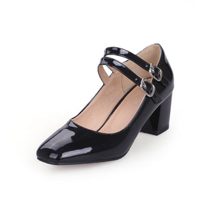 Square Head High Heeled Shallow Mouth Women Pumps