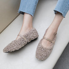 Load image into Gallery viewer, Girls Wool Shallow Mouth Buckle Flat Shoes
