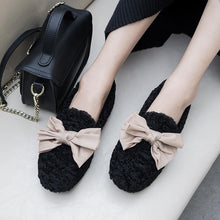 Load image into Gallery viewer, Girls Wool Shallow Mouth Sweet Bow Flat Shoes