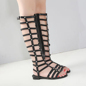 Summer Hollow Rivets Flat Open Toe Roman Gladiator Sandals