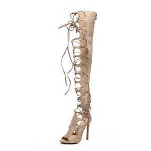 Sexy Nightclub Hollowed Out Belt High-heeled Roman Stiletto Sandals