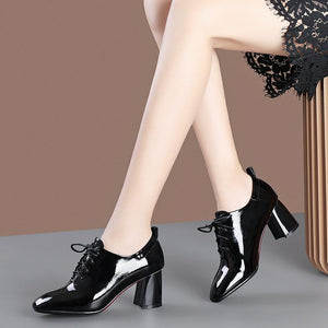 Lace Up Block Heel Shoes
