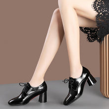 Load image into Gallery viewer, Lace Up High Heeled Square Head Shoes