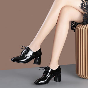 Lace Up High Heeled Square Head Shoes