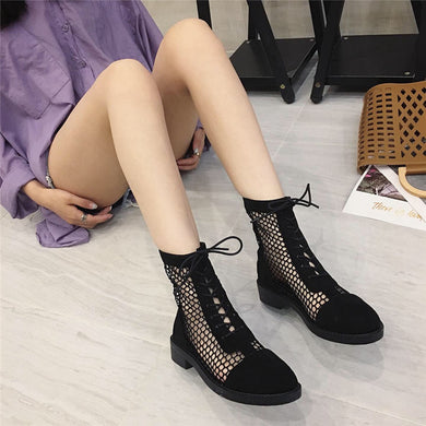 Leisure Hollowed-out Fishing Net Low Heel Breathable Women Boots