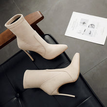 Load image into Gallery viewer, Pointed Toe High-heeled Suede Stiletto Short Boots Fall/Winter