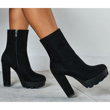 Load image into Gallery viewer, Women Black Suede Chunky Heels Short Platform Boots