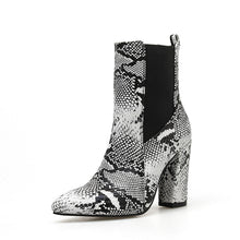 Load image into Gallery viewer, Pointed Toe Serpentine Large Size High Heeled Short Boots