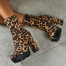 Load image into Gallery viewer, Sexy Leopard Print Chunky Heels Short Martin Platform Boots