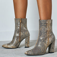 Load image into Gallery viewer, Pointed Toe High Heel Snake Printed Short Martin Boots Large Size