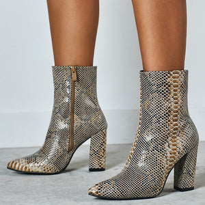 Pointed Toe High Heel Snake Printed Short Martin Boots Large Size