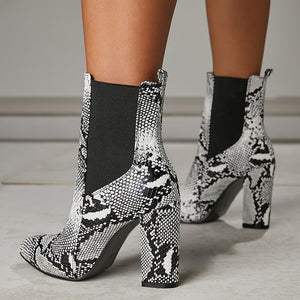 Pointed Toe Serpentine Large Size High Heeled Short Boots