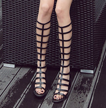 Load image into Gallery viewer, Square Heel High Heel Roman Gladiator Sandals