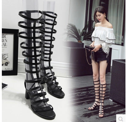 Square Heel High Heel Roman Gladiator Sandals