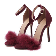 Load image into Gallery viewer, Women Sandals Faux Fur Suede Ankle Strap High-heeled Shoes