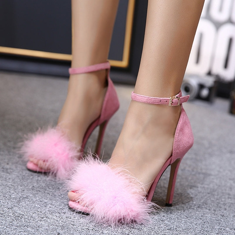 Women Sandals Faux Fur Suede Ankle Strap High-heeled Shoes