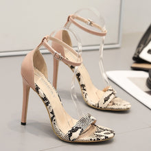 Load image into Gallery viewer, Summer Snakeskin Open-toed One-word Women Sandals Large-size High-heeled Shoes