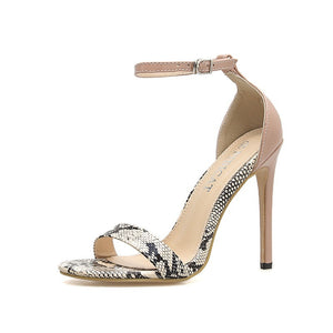 Summer Snakeskin Open-toed One-word Women Sandals Large-size High-heeled Shoes