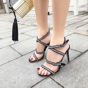 Women Shoes Letters Belt High-heeled Sandals
