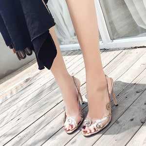 Women Shoes Transparent Stitching Sequined Fish Mouth High-heeled Sandals