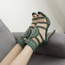 Load image into Gallery viewer, Women Shoes Openwork Rhinestone High Heel Roman Sandals