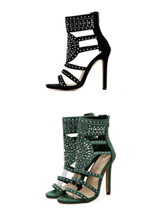 Women Shoes Openwork Rhinestone High Heel Roman Sandals