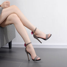 Load image into Gallery viewer, Summer Shoes One Word Buckle Sequin Sandals High-heeled for Women